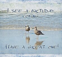 Birthday Greeting Card - Seagulls on Beach by MotherNature