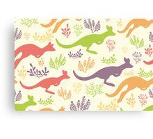Jumping kangaroos pattern Canvas Print