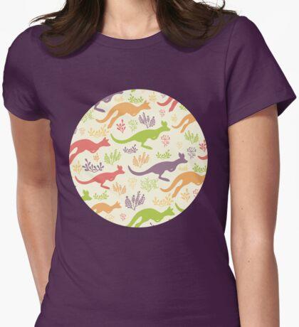 Jumping kangaroos pattern Womens Fitted T-Shirt