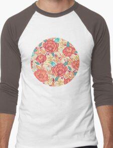 Bright garden pattern Men's Baseball ¾ T-Shirt