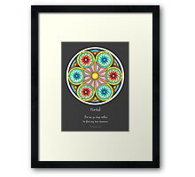 Portal Mandala - Poster w/Message and Grey Background Framed Print