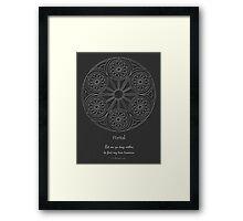 Portal Mandala - Poster - White Design w/Message  Framed Print