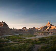 Badlands at Sunrise 5 (Spires) by Audrey Farber
