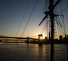 New York City Sunrise - Tall Ships and Brooklyn Bridge  by Georgia Mizuleva