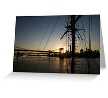 New York City Sunrise - Tall Ships and Brooklyn Bridge  Greeting Card