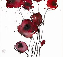 Red poppies - watercolor flowers by Tatyana  Ilieva