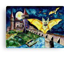 Halloween Landscape with Bats and Transylvanian Castle Canvas Print