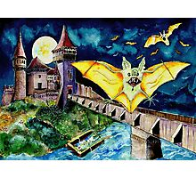 Halloween Landscape with Bats and Transylvanian Castle Photographic Print