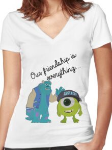 Mike and Sulley - Bestfriends Women's Fitted V-Neck T-Shirt