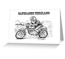 Black and white caferacer motorbike (3) Greeting Card