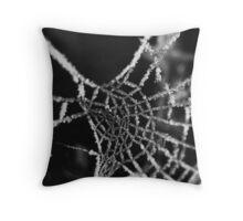 frosty cobweb Throw Pillow