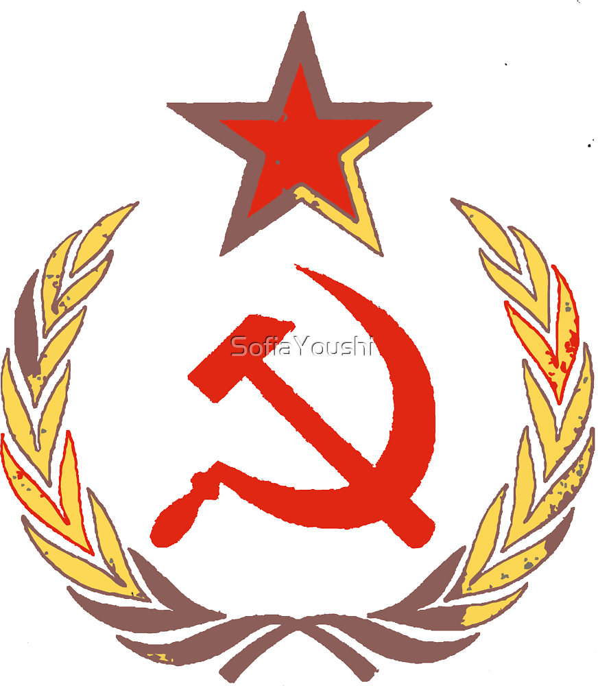 Red star and hammer and sickle by SofiaYoushi