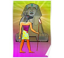 Anubis and the Sphinx in Ancient Egypt Poster