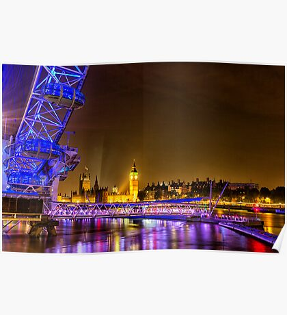 The London Eye and Big Ben.  Poster