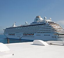 Crystal Serenity leaves St Peters Port Guernsey by Keith Larby