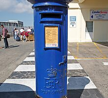 Blue Post Box St Peters Port Guernsey by Keith Larby