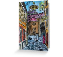 Watercolor Sketch - Genève, Old Town, Rue Chasse-Coq Greeting Card