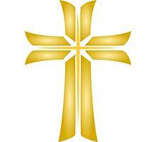 Golden Cross Christian Religious Symbol Photographic Print