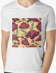 floral background with peonies  Mens V-Neck T-Shirt