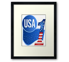 USA Flag Design with No.1 in the World  Framed Print