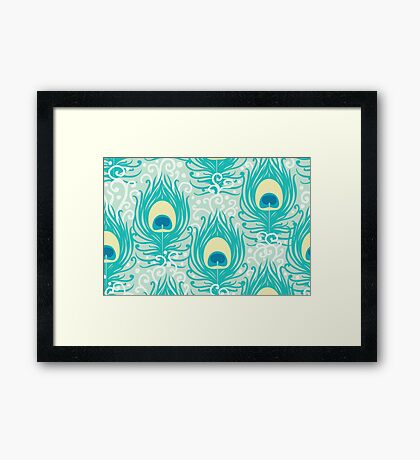 Peacock feathers pattern Framed Print