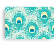 Peacock feathers pattern Canvas Print