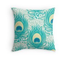 Peacock feathers pattern Throw Pillow