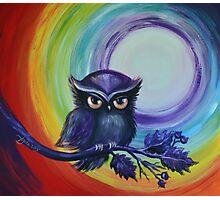 Chakra Meditation with Owl Photographic Print