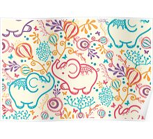 Elephants with bouquets pattern Poster