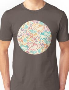 Elephants with bouquets pattern Unisex T-Shirt