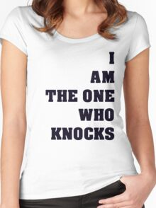 Breaking Bad I Am The One Who Knocks Black Text Women's Fitted Scoop T-Shirt