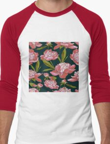floral background with peonies  Men's Baseball ¾ T-Shirt