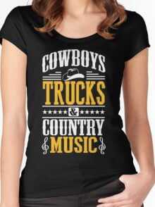 Cowboys, trucks & country music Women's Fitted Scoop T-Shirt