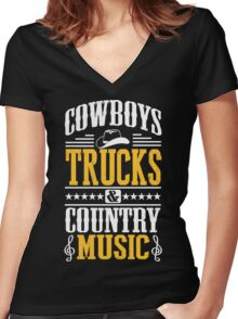 Cowboys, trucks & country music Women's Fitted V-Neck T-Shirt