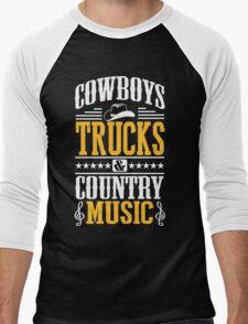 Cowboys, trucks & country music Men's Baseball ¾ T-Shirt