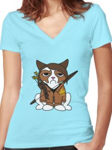 Grumpy Katniss Women's Fitted V-Neck T-Shirt