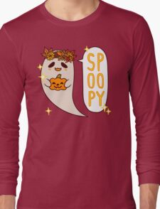 Cute Spoopy Ghost (Color Version) Long Sleeve T-Shirt