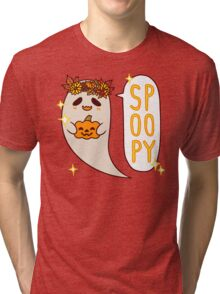 Cute Spoopy Ghost (Color Version) Tri-blend T-Shirt