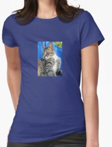 Tabby Cat Against Blue Cloth Background Womens Fitted T-Shirt