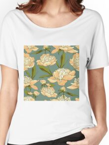 floral background with peonies  Women's Relaxed Fit T-Shirt