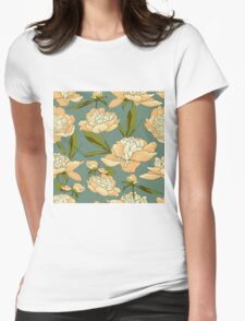 floral background with peonies  Womens Fitted T-Shirt