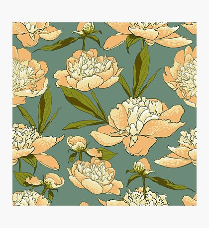 floral background with peonies  Photographic Print
