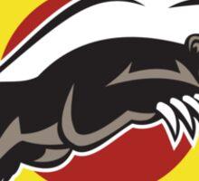Honey Badger Mascot Leaping Circle Sticker
