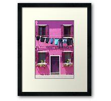 Burano Purple House Framed Print