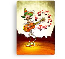 Mexican Skeleton Playing Guitar Canvas Print