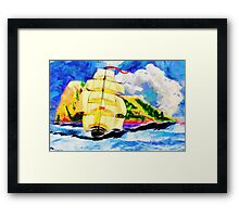 A digital painting of The Golden Clipper in Rough Sea at Gibraltar 2 Framed Print