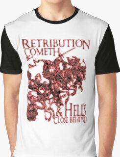 Four Horsemen of the Apocalypse, Durer, Retribution Cometh & Hell's Close behind! Biblical, red shadow on black Graphic T-Shirt