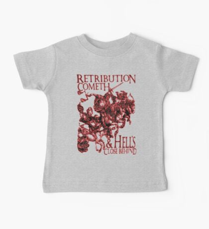 Four Horsemen of the Apocalypse, Durer, Retribution Cometh & Hell's Close behind! Biblical, red shadow on black Baby Tee