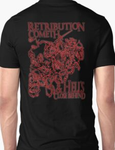 Four Horsemen of the Apocalypse, Durer, Retribution Cometh & Hell's Close behind! Biblical, red shadow on black T-Shirt