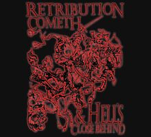 Four Horsemen of the Apocalypse, Durer, Retribution Cometh & Hell's Close behind! Biblical, red shadow on black Unisex T-Shirt